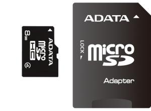 A-Data microSDHC 8GB Class 4 + adaptér