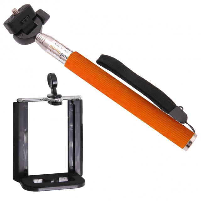 Držák SELFIE orange + Bluetooth ovladač