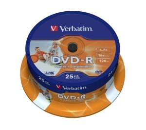Verbatim DVD-R 4,7GB 16x Printable spindl 25 ks