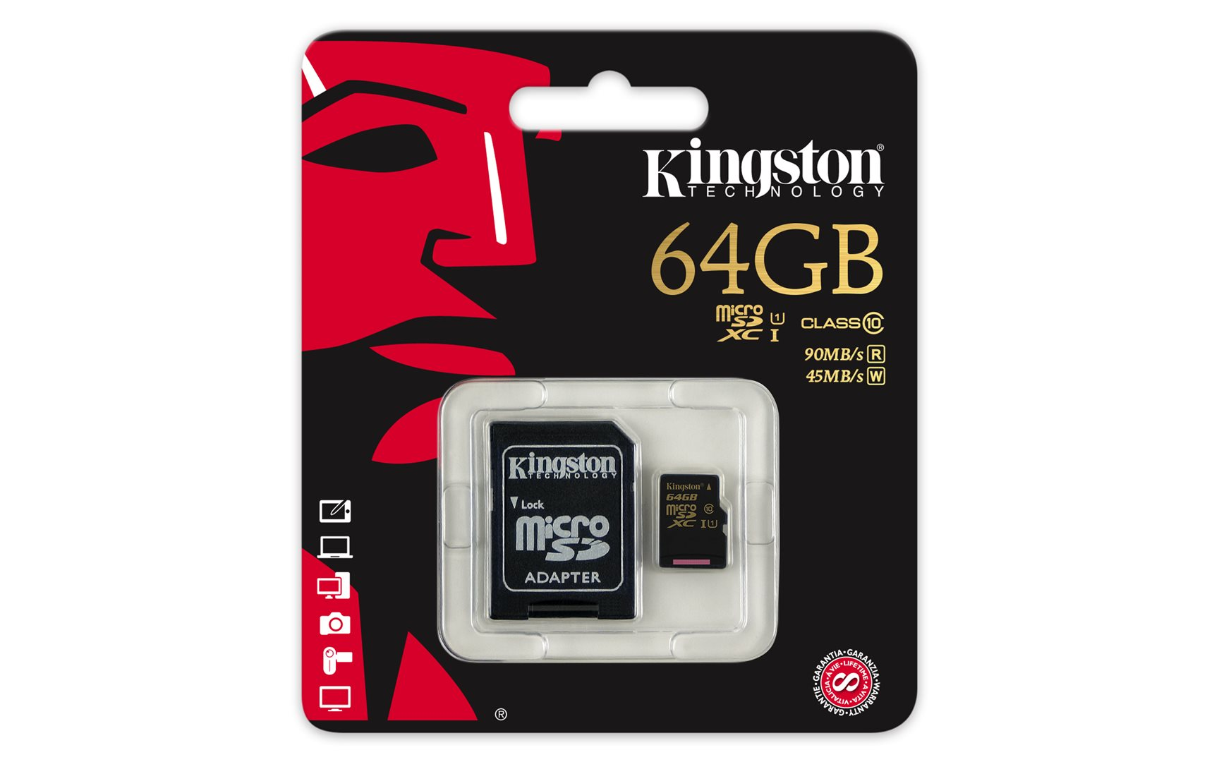 Kingston micro SDXC 64GB UHS-I s adaptérem